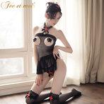 胖MM性感情趣內衣透明大碼包臀裙SM制服激情用品套裝開檔絲襪女騷
