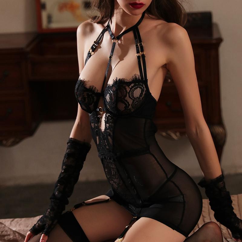 情趣内衣小胸显大诱惑激情套装挑逗透视骚免脱蕾丝性感睡衣