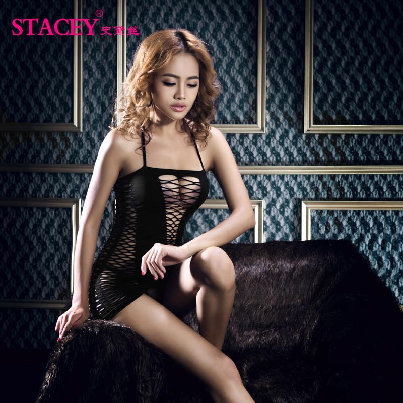 新款史黛絲情趣內衣性感透視夜店公主套裝制服開襠誘惑蕾絲漁網襪