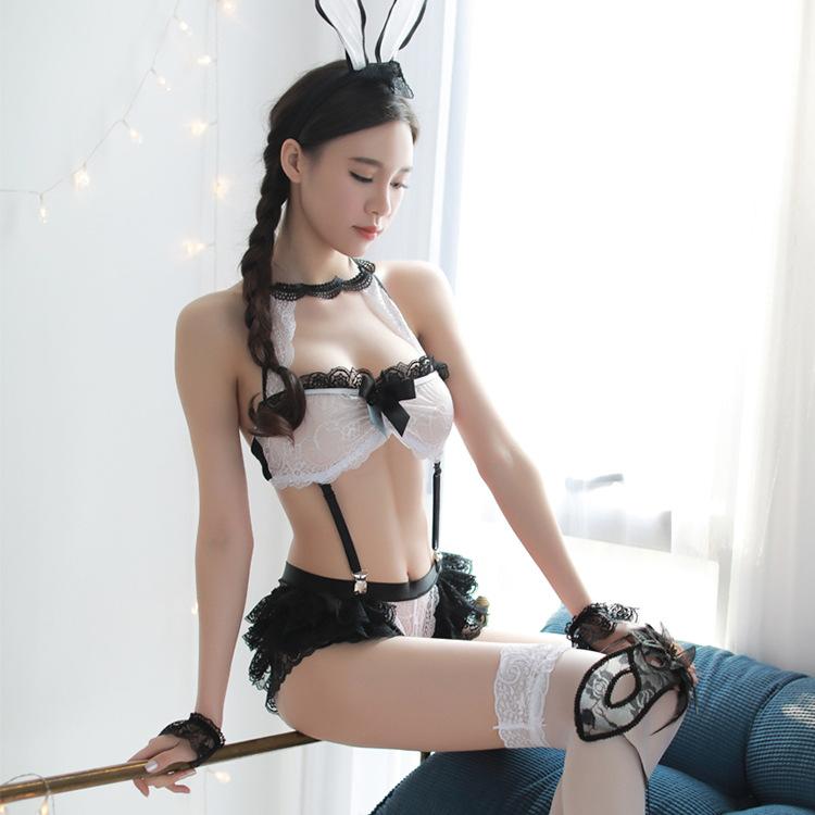 Valentinesfun情趣内衣女士开档免脱性感可爱兔女郎夜店透视蕾丝
