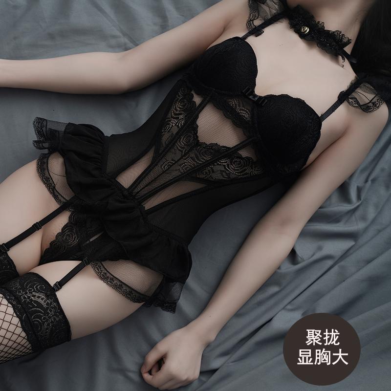 性感情趣內衣超騷挑逗免脫小胸聚攏維密誘惑透明睡衣激情套裝騷女