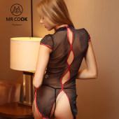 Mrcook 高端旗袍進口亮絲緊身透視裝露乳騷情趣內衣套裝