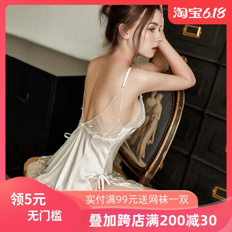 春夏法式仙女风纯洁白色短裙透明性感睡衣女吊带蕾丝睡裙配T裤