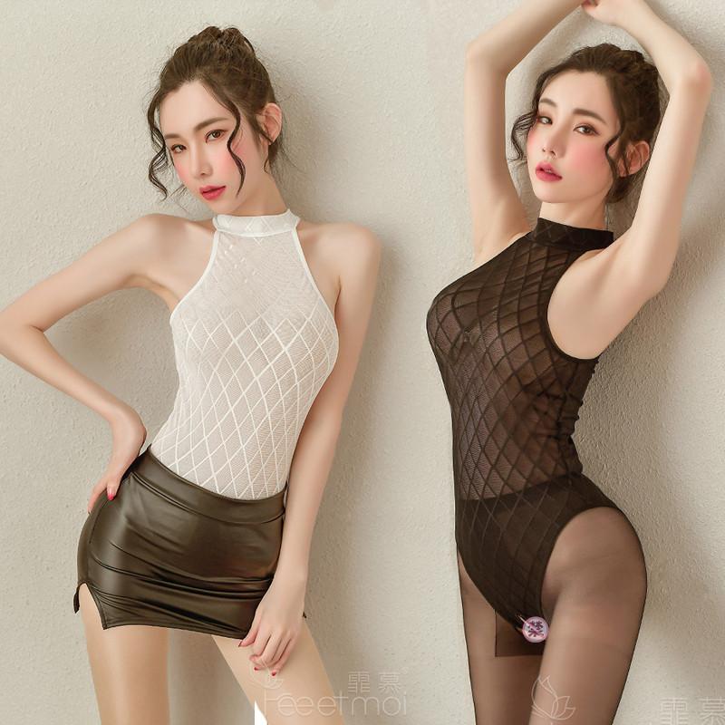 2020新品霏慕情趣内衣隐形拉链制服开档性感秘书OL透明诱惑套装女