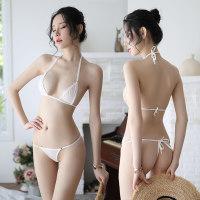 新款 性感女式三點式透視情趣內衣 透明系帶比基尼丁字褲文胸套裝