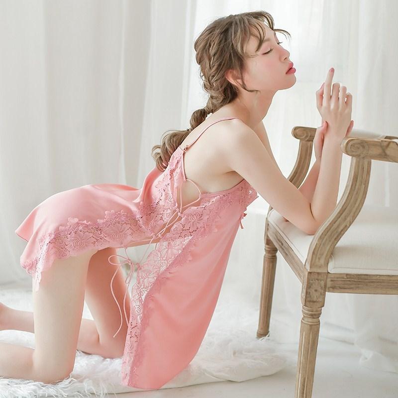 維多利亞維密性感夏季冰絲情趣睡衣女火辣免脫蕾絲吊帶挑逗睡裙騷