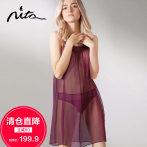 【清仓直降】Nita妮塔真丝性感透明睡衣女100%桑蚕丝蕾丝超薄睡裙