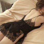 维密情黑色吊带睡裙女火辣蕾丝透明诱惑情趣内衣真丝性感睡衣短裙