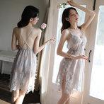 维多利亚维密妮奥秘性感睡衣情趣内衣骚透明吊带蕾丝长款大码睡裙