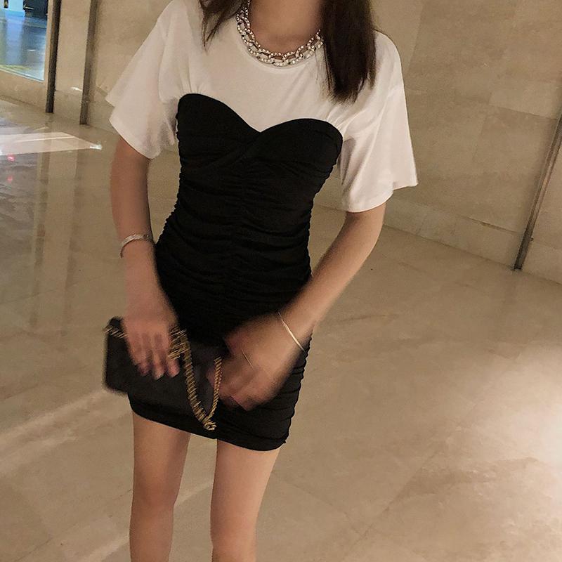 黑白褶皱拼接假两件连衣裙女收腰显瘦气质修身性感包臀短裙a字裙