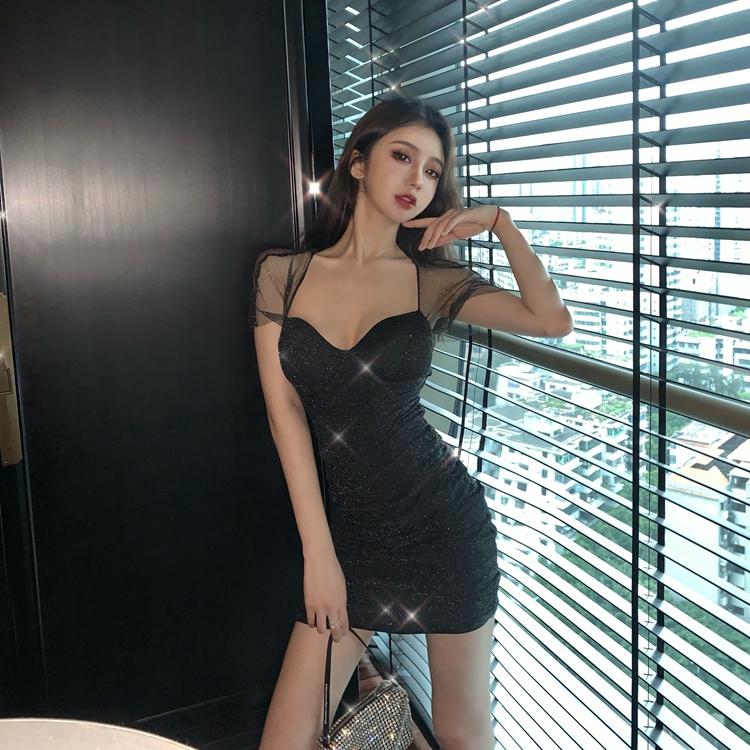 毒家  性感网纱吊带裙系带露背闪亮收腰显瘦修身包臀裙蹦迪超短裙