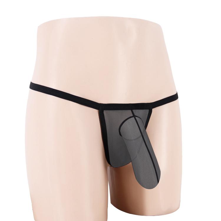 男士情趣內褲透明丁字褲T褲U凸低腰性感帶JJ套大象槍蛋分離情趣褲