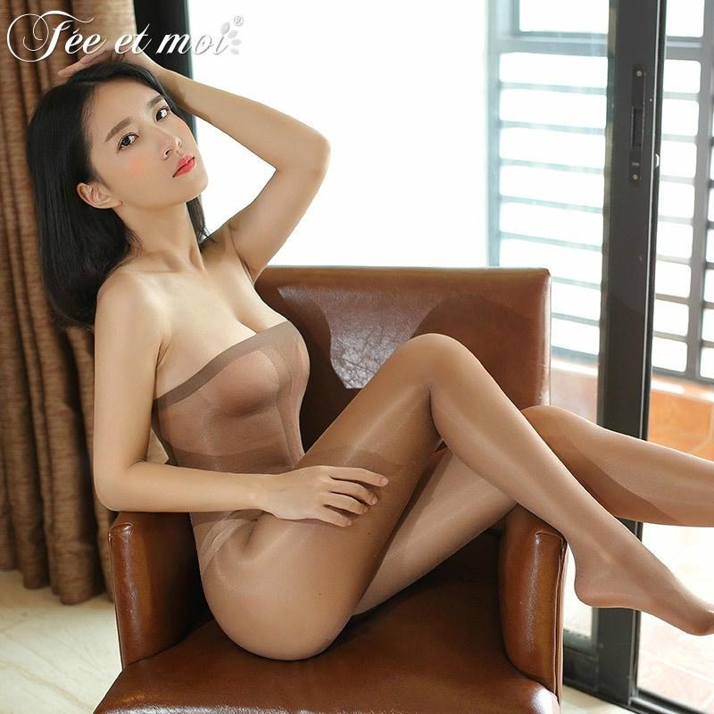 情趣內衣式透明油亮絲襪開檔抹胸制服誘惑連身黑抹胸7331